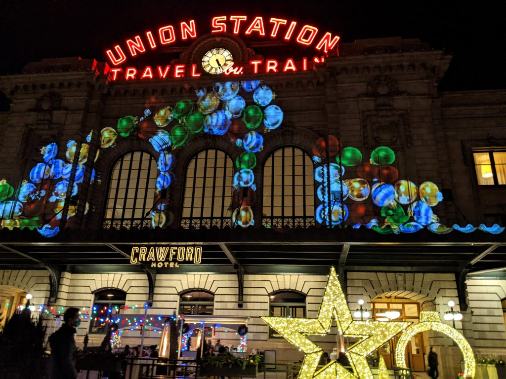 union station with christmas lights